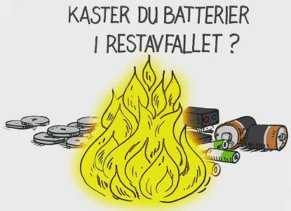 Ikke kast brukte batterier i restavfallet!