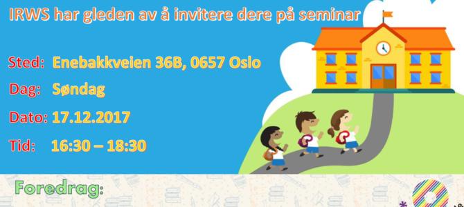 Motivasjonsseminar for foreldres aktiv deltakelse i barnas skolehverdag – 17.12.2017